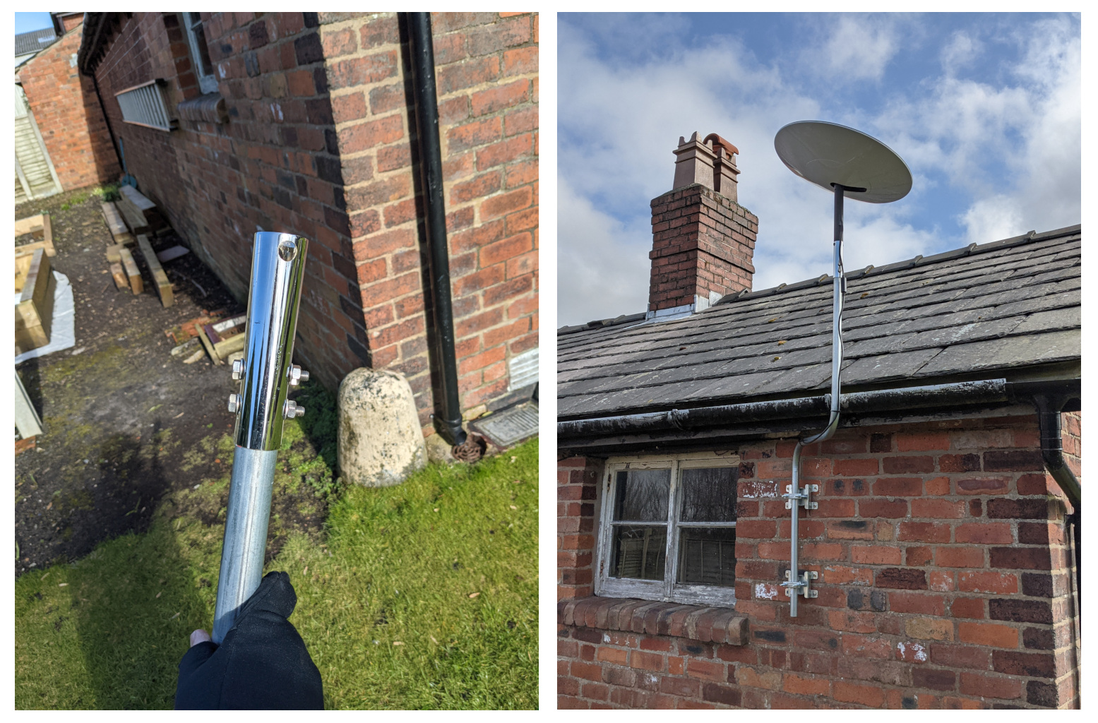 Starlink Dish Installation showing adaptor and mounting pole on building