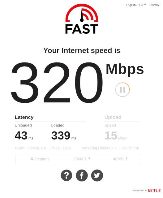 Starlink Speedtest @ fast.com showing 320Mbps